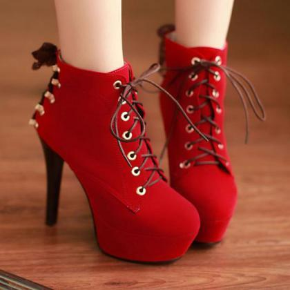 Red Suede High Heels Lace Up Ankle ..