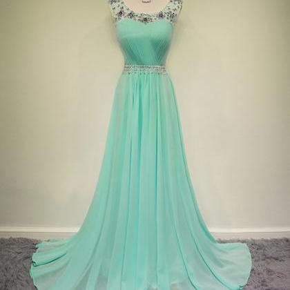 Scoop Neck Long Chiffon Prom Dresse..