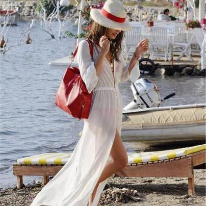 Long Beachwear Cover Ups Sheer Chif..