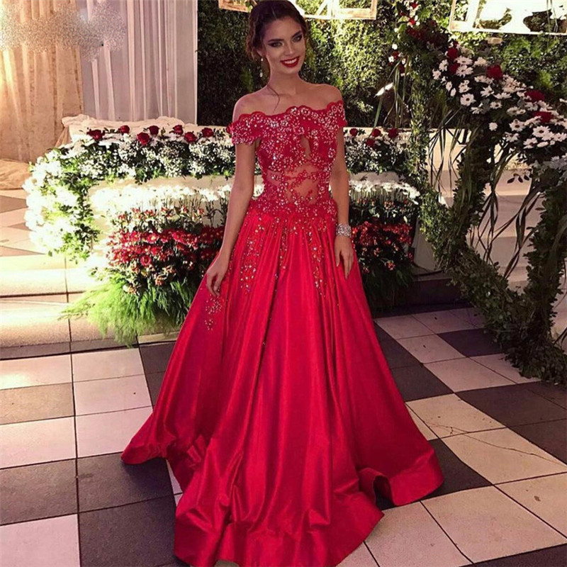 Off The Shoulder Beads Sequins Formal Evening Dresses Cheap Popular Prom Dress 2018