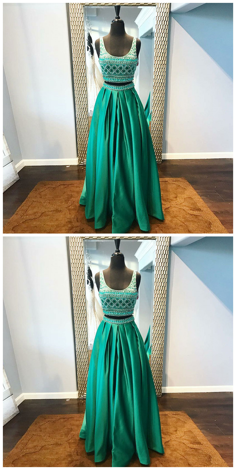 Two Piece Scoop Floor-Length Green Satin Beaded Prom Dress