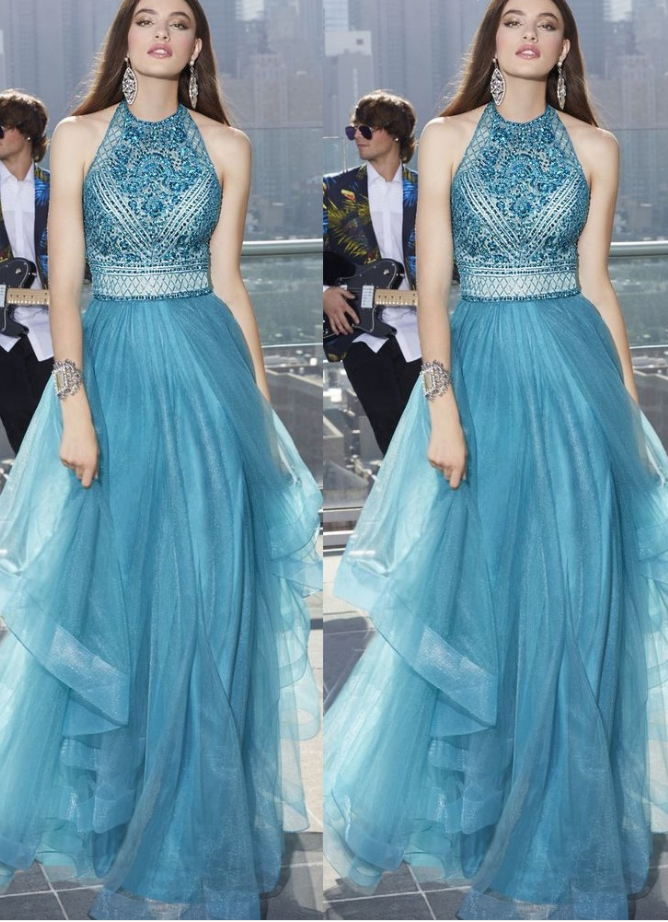 Charming Teal Tulle Prom Dress,Fairy Halter prom dress with Beading, Affordable Long Eveing dress