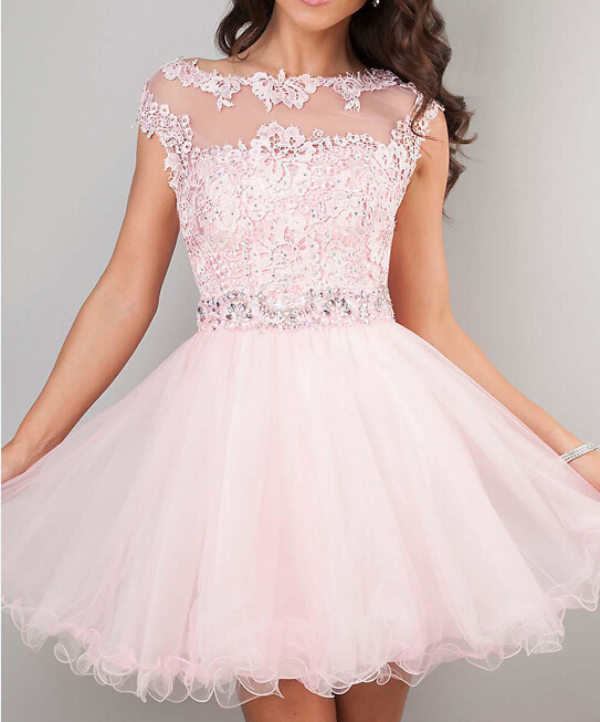 2015 cute short prom dresses pink high neck beaded for Pink homecoming dresses