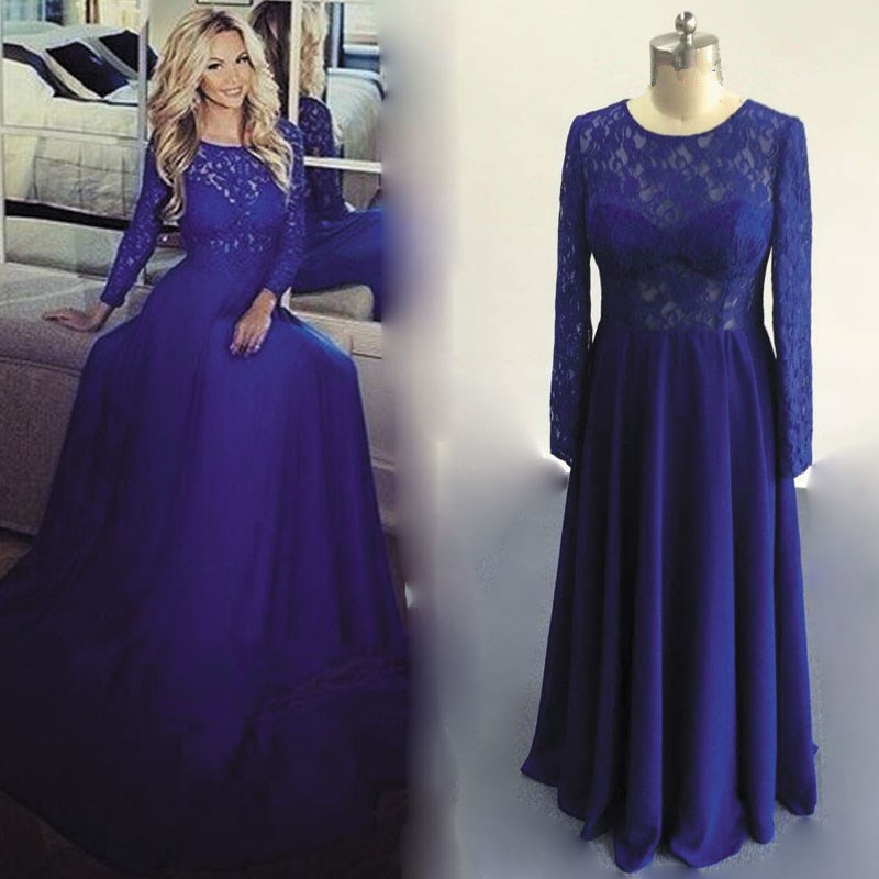 O-Neck Long Chiffon Royal Blue Prom Dresses Lace Long Sleeve Party Dresses