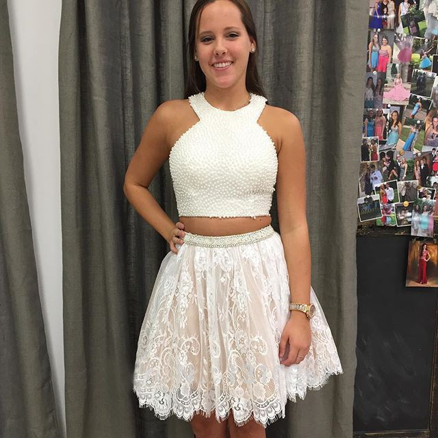 Ivory Lace Short Two Piece Homecoming Dresses 2016 Real Images ...