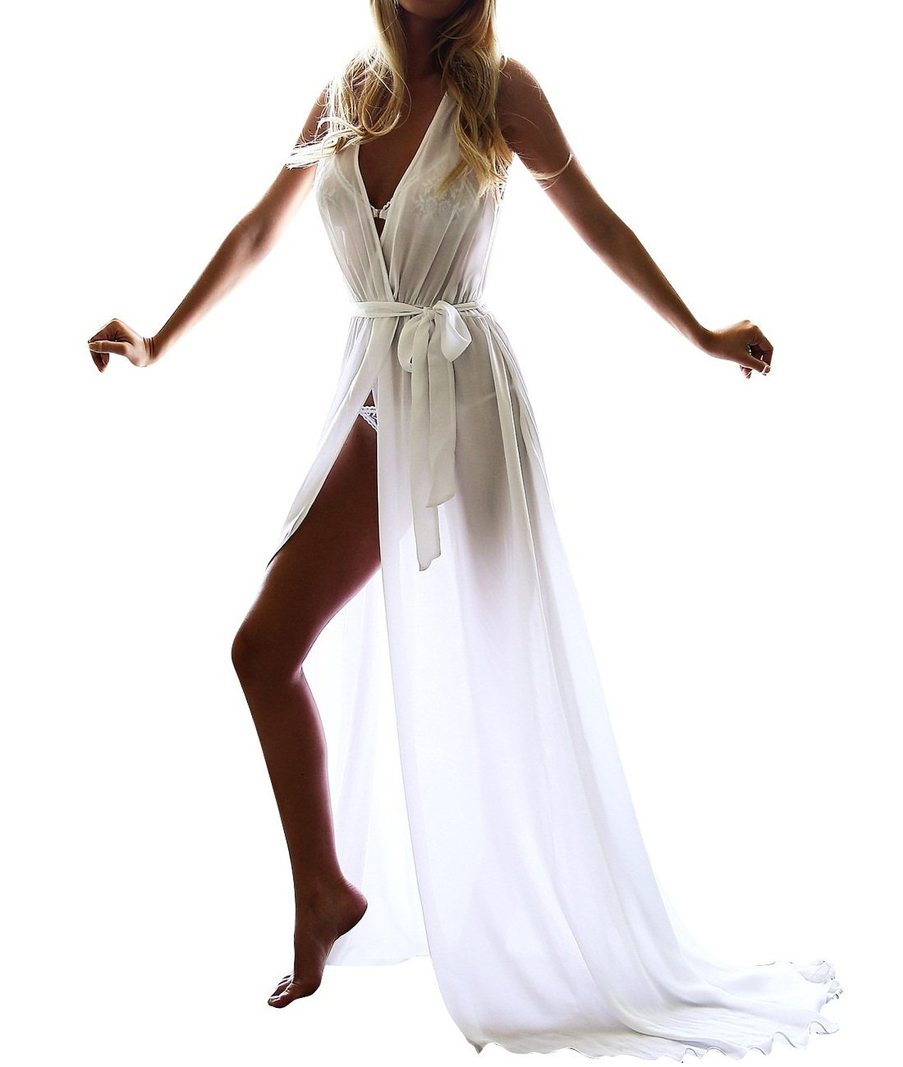 Long Beachwear Cover Ups Sheer Chiffon Nightgowns