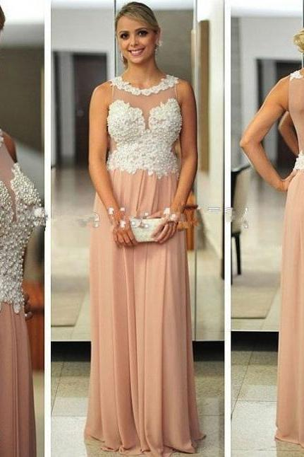 Champagne Round Neck Beading Sleeveless Floor-length A-line Chiffon Prom Dresses