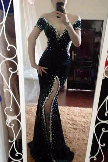 Black Prom Dresses,Mermaid Prom Dresses