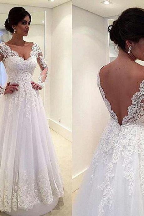 Beautiful Applique Wedding Dresses V-Neck A-Line Tulle Low Back Long Sleeve Princess Court Train Bridal GownsWhite/Ivory
