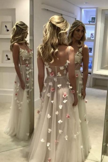 Orchid Dress,Flower Prom Dress,Long Evening Gowns,See Through Prom Dress,Sexy Long Formal Dress