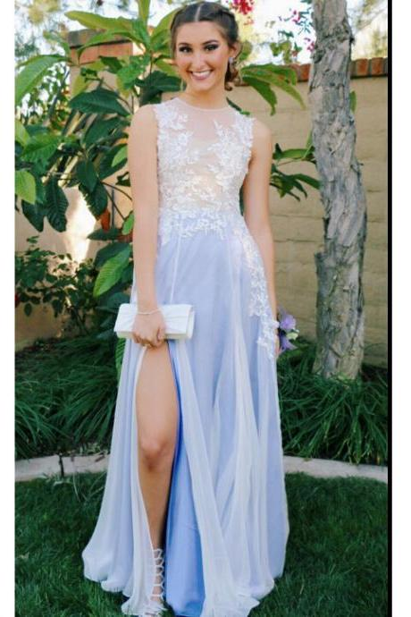 Custom Made Sleeveless Sheer Tulle Long Evening Dress, Prom Dresses, Wedding Dresses, Graduation Dresses with Lace Applique and High Split