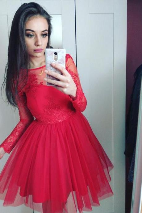 Long Lace Sleeves Prom Dresses Red Tulle Short Prom Dress with