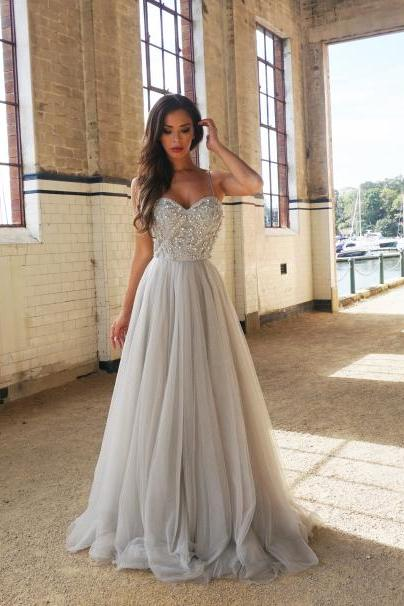 New Arrival A-Line Spaghetti Straps Floor-Length Prom Dress with Beading, Charming Prom Dresses, Formal Prom Dress, Long Prom Dress, Prom Dresses