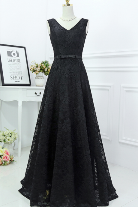 Black Lace Evening Formal Dress V Neck Sash A Line Party Prom Gowns ,Long Prom dresses.charming prom dresses