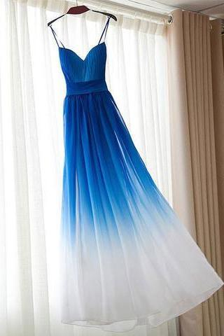 Blue gradient A-line chiffon strap special high quality long Floor-length Prom Dresses Gown,cheap formal prom gown