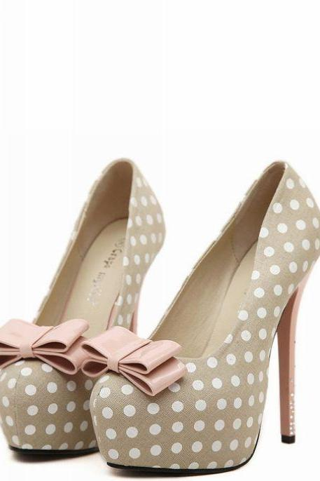 Polka Dot Stiletto Pumps with Ribbon and Rhinestone Embellished Heel