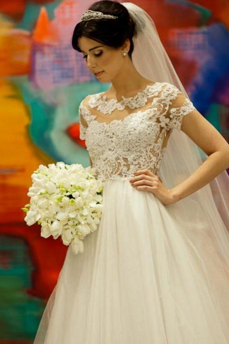 Vestido De Novias Boda Short Sleeve Lace Wedding Dresses Custom Made A-line Cheap Bridal Gowns 2017 Hot Sale