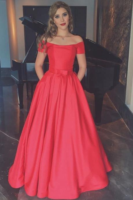 Custom Made Red Off-Shoulder Long A-Line Satin Evening Dress, Prom Dress, Wedding Dress, Bridesmaid Dresses