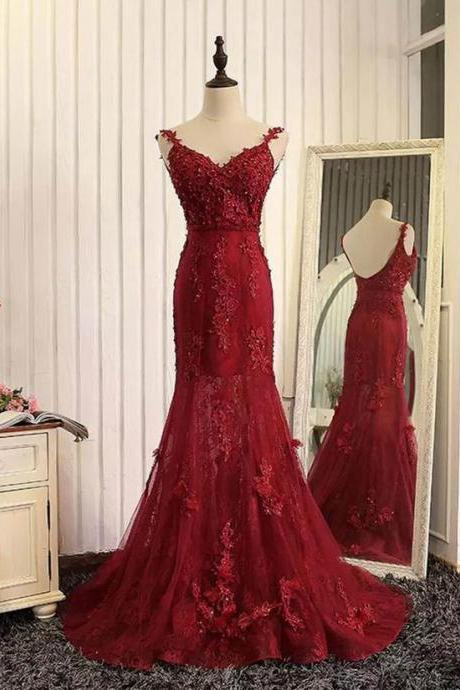 Tulle Lace Applique Prom Dress,V-neck Backless Long Prom Dresses,Mermaid Prom Dresses,Sleeveless Lace Prom Dress,Formal Dress,Woman Evening Dress