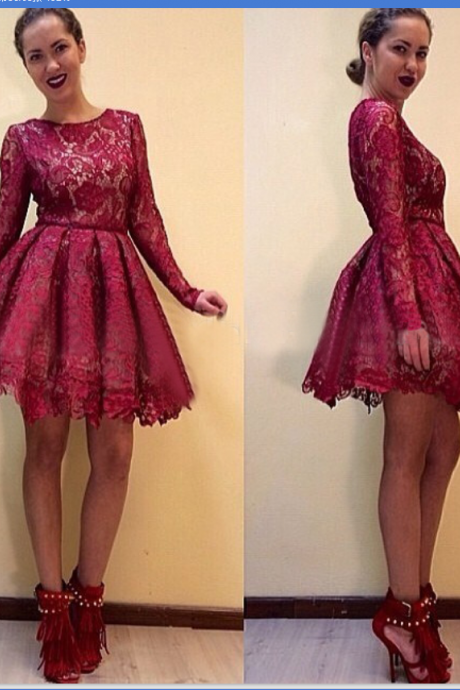 Burgundy Lace Homecoming Dresses ,Long Sleeves Homecoming Dresses Prom Gowns ,Short Homecoming Dress,High Neck Cheap Short Prom Dresses,Wine Red Party Dresses
