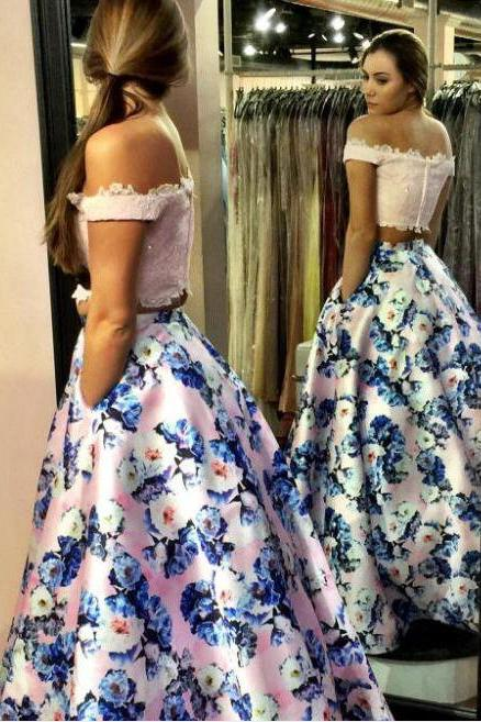 Fashion Two Piece Pink Prom Dress - Off the Shoulder with Lace Beading Floral