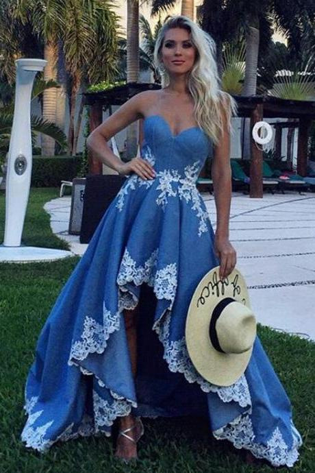 High Low Sweetheart Long Prom Party Dresses with Lace Appliques