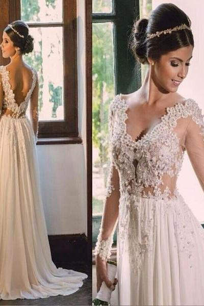 Chiffon Beach Wedding Dress, Long Sleeve Wedding Dress, Beach Wedding Dress, Cheap Bridal Dress, Lace Applique Wedding Dress,