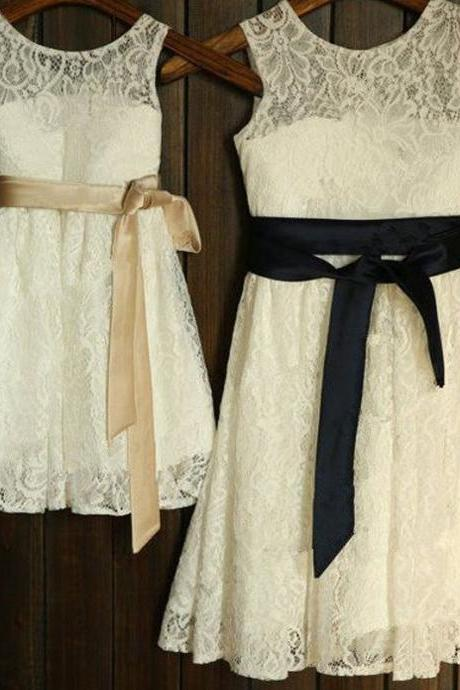Round Neck Lace Long A-line Flower Girl Dresses With Belt,