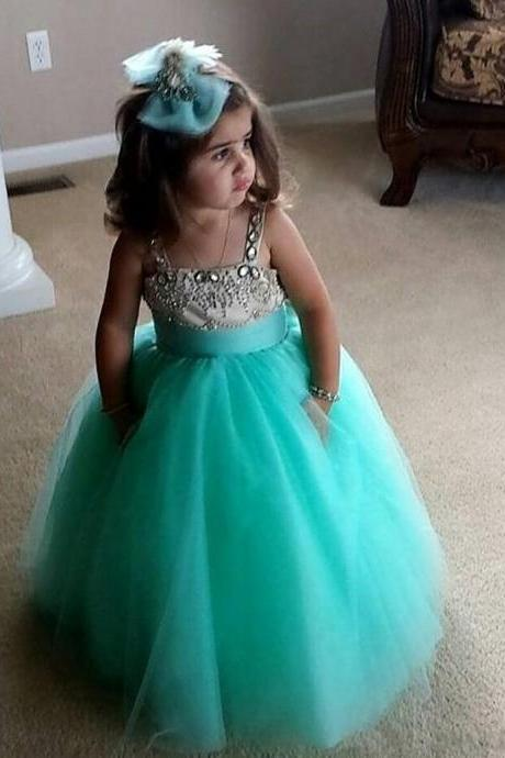 Flower Girl Dress,Beaded Flower Gril's dress,Custom Flower Girl Dress,Girl's Birthday Party Dress,Girls Pageant Gown,Handmade Flower Girl dress