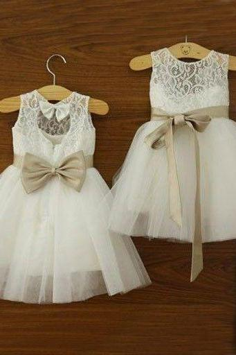 Long Flower Gilr Dress - Lace Top Champagne Bow