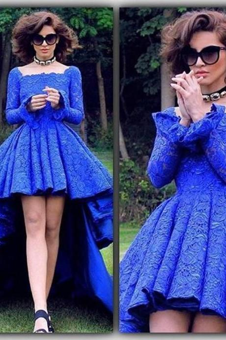 Royal Blue Lace High Low Prom Dresses Formal Backless Long Sleeve Evening Dresses Square Party