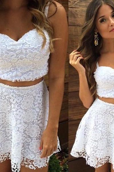 Two Piece White Lace Homecoming Dress,A Line Short Party Dresses