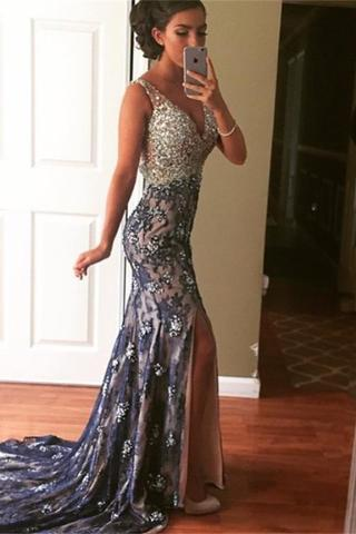 Elegant V Neck Beaded Side Slit Mermaid Long Prom Dresses