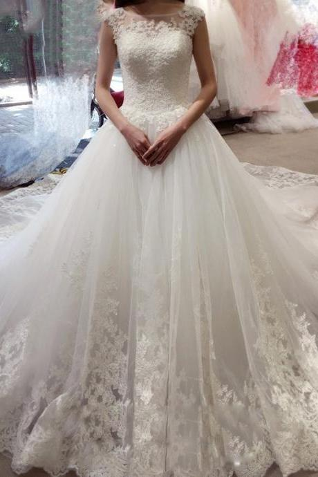 Ball Gown Wedding Dresses,Sleeveless Wedding Dress,Bateau Wedding Dress Wiith Appliques,Princess Wedding Dresses Wiht Court Train, Tulle Wedding Dresses,Wedding Dress