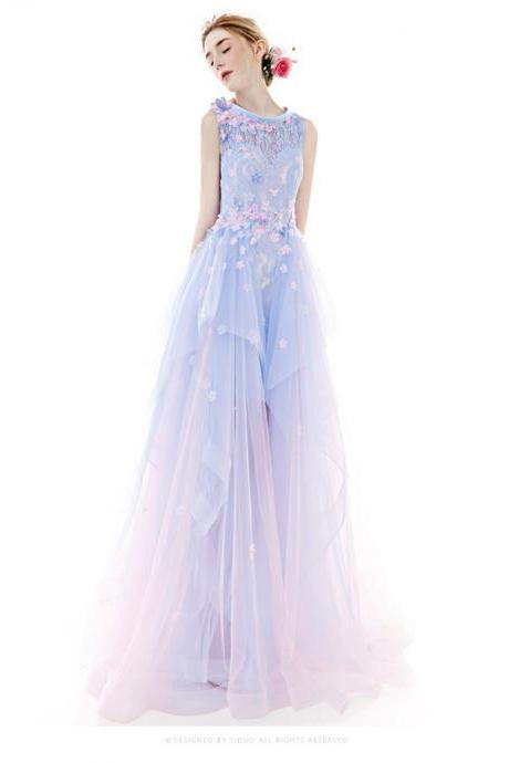 Beautiful Prom Dress,Charming Prom Dresses,Evening Dresses,Princess Dresses,Prom Dresses For Teens,Close Back Prom Gowns,Pink And Blue Prom Dresses,Prom Dresses 2017