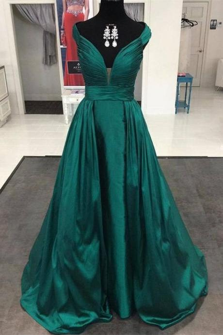 Dark Green Deep V-neck Long Prom Dresses,Simple Evening Dresses,Handmade Plus Size Cheap Prom Gowns,Long Prom Dress,Evening Dresses