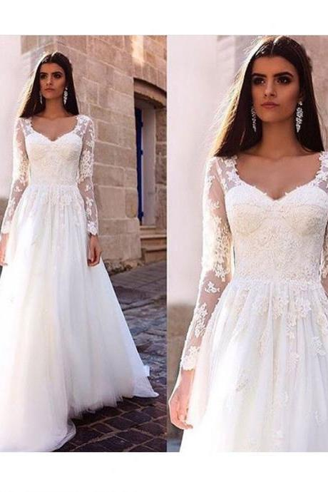 V-Neck Lace Appliqués A-line Floor-Length Tulle Wedding Dress/Evening Dress with Long Sheer Sleeves