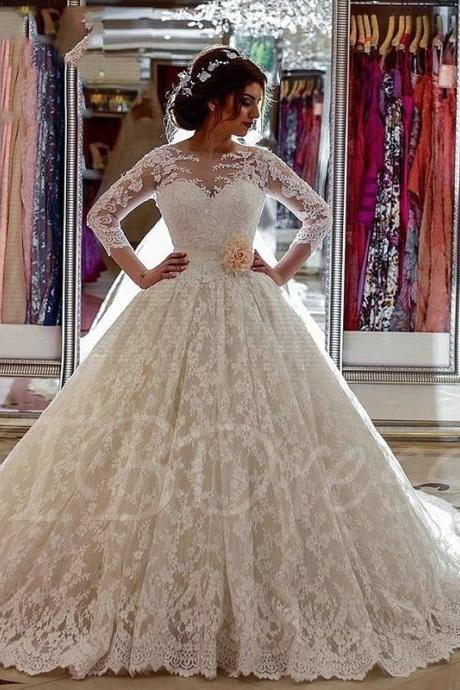 Scoop Neck Long Sleeves Lace Appliques Court Train Wedding Dress Lace Long Sleeves Scoop Neck Ball Gown Wedding Dress