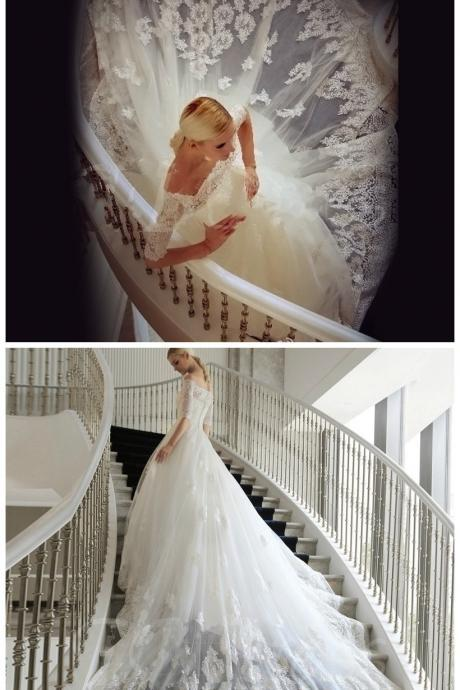 Off-The-Shoulder Half Sleeves Lace Cathedral Train Ball Gown Wedding Dresses