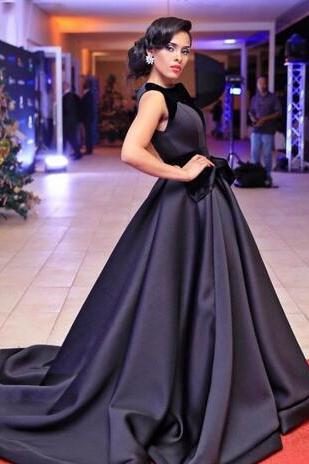 Cheap prom dresses ,Black Ball Gown Evening Dresses Bateau Long Celebrity Dresses Custom Made Sweep Length Formal Evening Gowns