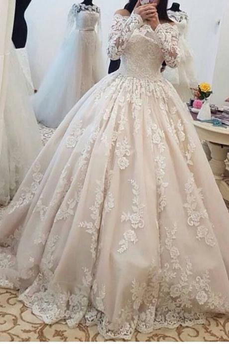Romantic Lace Wedding Dresses with Long Sleeves Ball Gown Wedding Gowns Bridal Bride Dresses Off the Shoulder Wedding Dresses