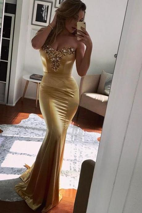 Gold Sweetheart Mermaid Prom Dress,Evening Dress With Beading And Crystals
