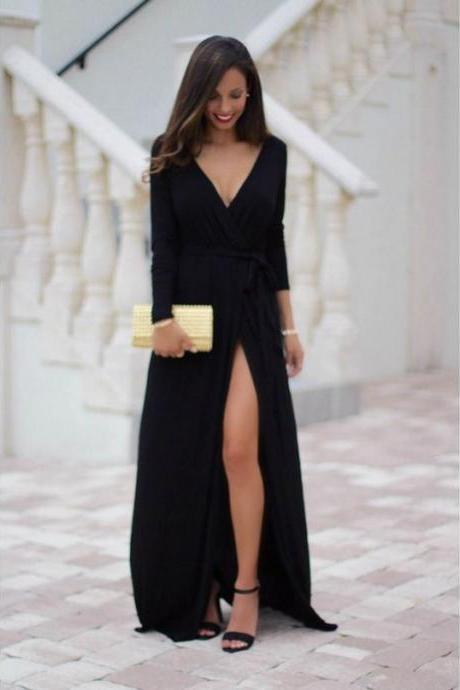 2018 Custom Made Black Prom Dress,Long Sleeves Evening Dress, Deep V-Neck Party Gown,Side Slit Prom Dress