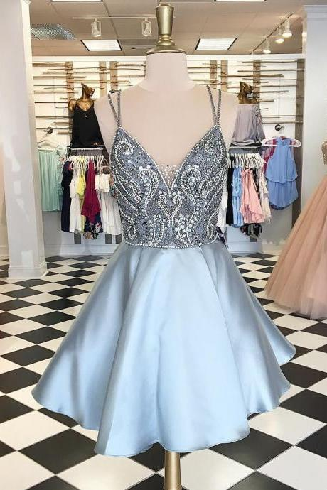 A-line Homecoming Dresses,Spaghetti Straps Homecoming Dresses,Beaded Homecoming Dresses,Backless Homecoming Dresses,Short Prom Dresses,Party Dresses