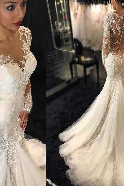 V-Neck Sheer Lace Appliqués Mermaid Wedding Dress with Long Sleeves and Sheer Back
