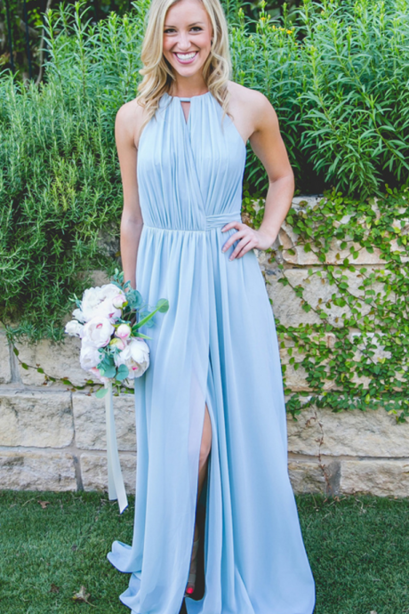 Chiffon Bridesmaid Dress, Halter Bridesmaid Dress, Floor-Length Bridesmaid Dress, Side split Bridesmaid Dress,