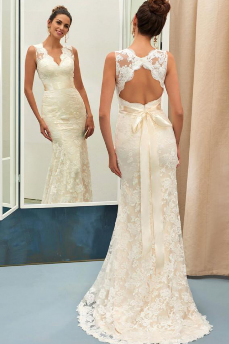Champagne V Neck Open Back Sleeveless Lace Sheath Wedding Dress with Sash
