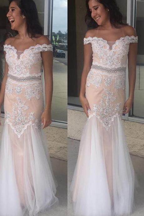 sexy Off the shoulder Mermaid White Long Prom Dress wedding dresses partydress