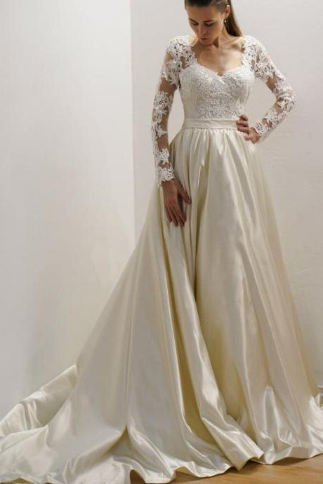 Sexy A-line Long Sleeves Lace Wedding Dresses with Train prom dress party dress