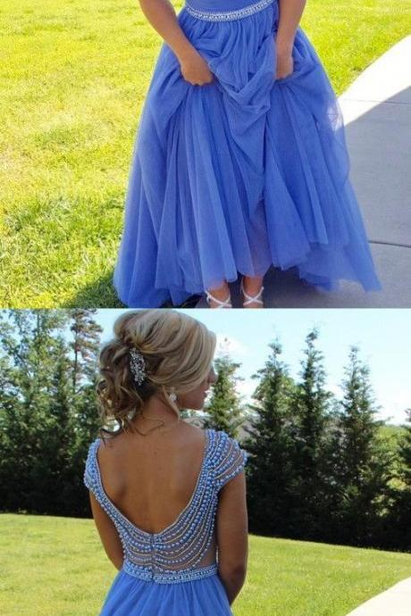 Blue Long Prom Dress, Gorgeous A-line Party Dress, Long Beads Cap Sleeves Prom Dress